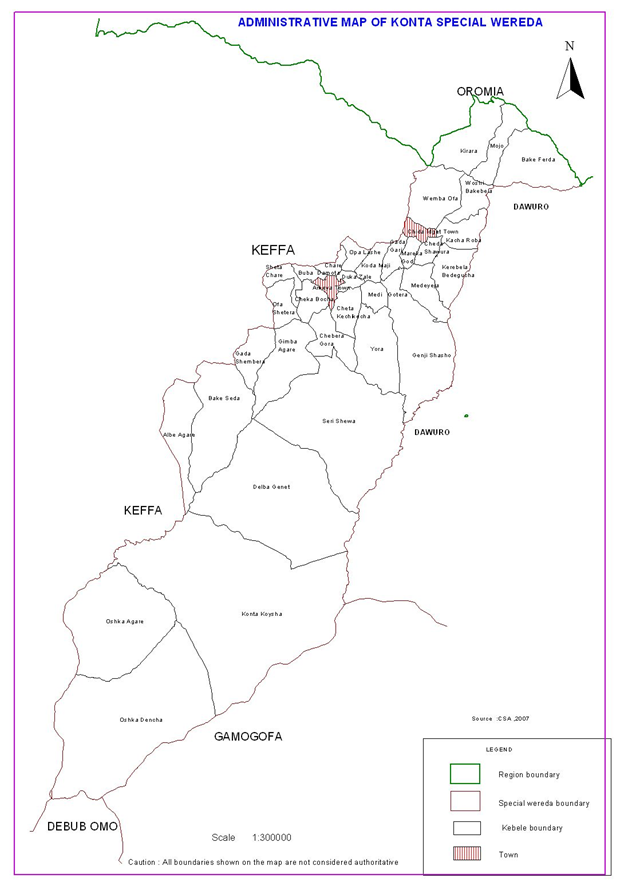 Administrative Map of Konta Special Woreda
